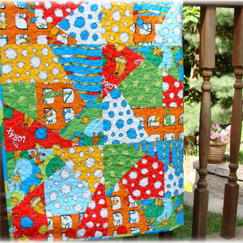 Dr Seuss Quilt Lorax Crazy Patch Baby Quilt