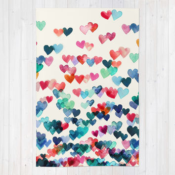 Heart Connections - watercolor painting Rug by Micklyn