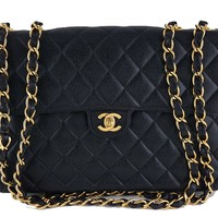 Chanel Black Caviar Jumbo Quilted Classic 2.55 Flap Bag