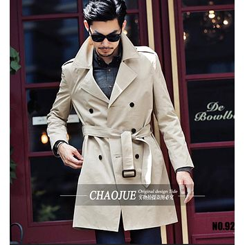 New Fashion Men's Slim British Style Belt Double-breasted Trench Coat Plus Size Men's Overcoat Dress Clothing ! Free shipping