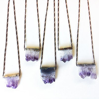 rough amethyst necklace - february birthstone mineral geode - boho jewelry - statement necklace