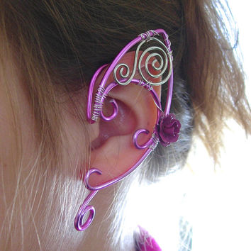 Pretty in Pink, Elf Ear Cuffs, Ear Wraps, Pink Aluminum Elf Ears with Rose Accents, Renaissance, Elven, Hobbit, Elf, Fantasy Ear Wraps,