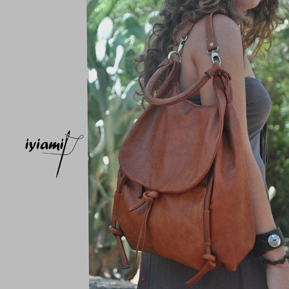 Handmade leather backpack, named Daphne in Brandy color MADE TO ORDER