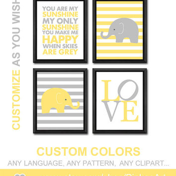 kids playroom art yellow gray toddlers room decor baby elephant nursery baby wall decor new baby decor nursery prints baby gifts sunshine