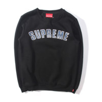 Black Supreme Print Loose Casual Pullover Sweater