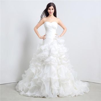 Strapless Cascading Ruffle Princess Chapel Train  Wedding Gown
