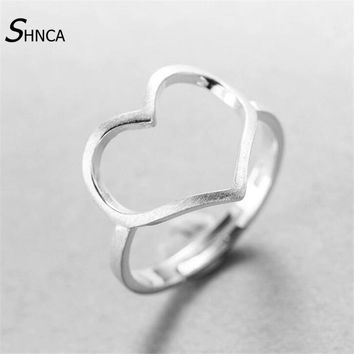 Genuine 100% 925 Sterling Silver Simple Personality Hollow Big Heart Love Rings For Women Handmade Sterling-silver-jewelry R169
