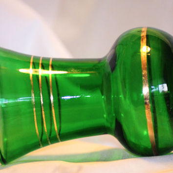 Bohemian Green Absinthe Art Glass Cabinet Vase or Beaker with Applied Gilt Decoration