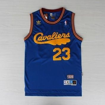 LeBron James #23 Cleveland Cavaliers Blue Throwback Swingman Swen Jersey Mens