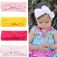Cute Baby Girl Cloth Headband Bowknot Headwear Children Headdress Rabbit Ears Bow Elastic Hair Band Solid Color BB-222