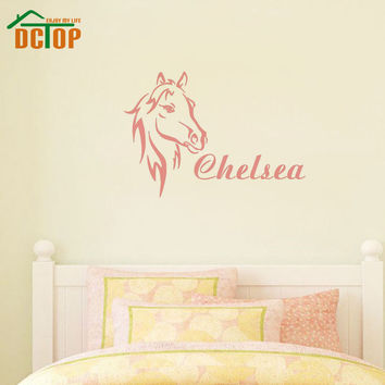 DCTOP Customized Family Name Wall Stickers Removable Vinyl Waterproof Head Of Horse Stickers Wall Decal Living Room Decoration