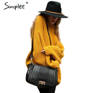 Simplee Winter warm turtleneck knitted sweater Women long sleeve black pullover Autumn casual tricot white jumpers pull femme