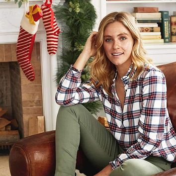 Leslie Wintertime Plaid Top by Southern Tide