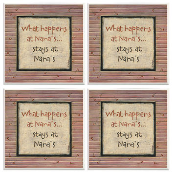 Nana coasters, What happens at Nanas stays at Nanas, Family gifts, home decor, decorative coasters, Nana gifts, Family Quotes, Tile Coasters