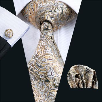FA-271 Gents Necktie Yellow Paisley 100% Silk Jacquard Tie Hanky Cufflinks Set Business Wedding Party Ties For Men Free Shipping
