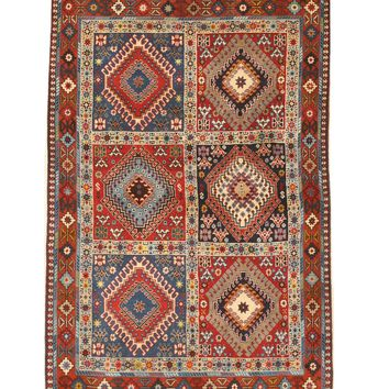 EORC Hand-knotted Wool Rust Traditional Geometric Yalameh Rug