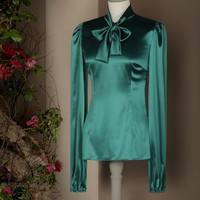 Satin blouse with bow | dolce&gabbana online store
