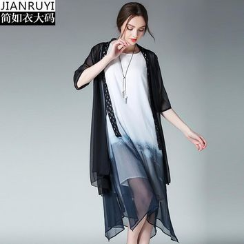 Black White Women transparente cardigan coat  Summer Half Sleeve Chiffon Cardigans for Women  Long Outerwear