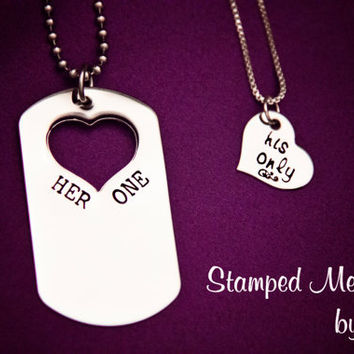 Her One His Only Dog Tag Set  The Original by StampedMemoriesbyMel