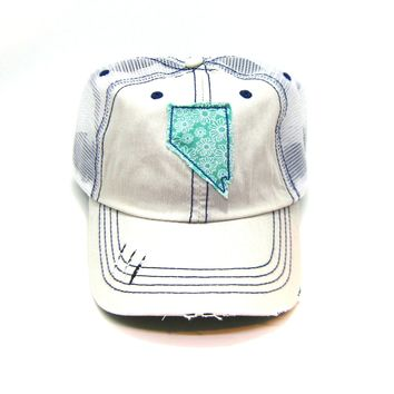 Nevada Trucker Hat - Distressed - Floral Fabric State Cutout