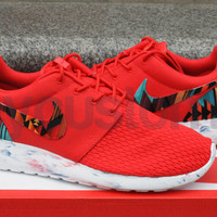 Nike Roshe Run Red Marble Aztec Tribal Print Custom