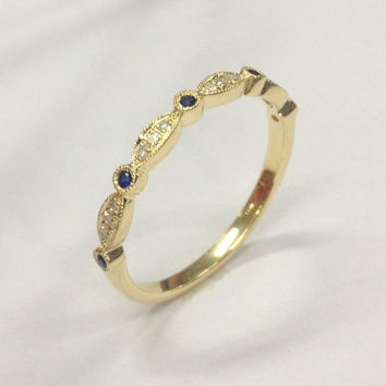 Ready to Ship- Pave Clear/Black Diamond Wedding Band Half Eternity Anniversary Ring 14K Yellow Gold