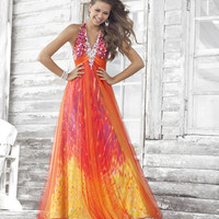 Orange Multi Color Whimsicle Print Charmeuse Embellished Halter Prom Dress - Unique Vintage - Homecoming Dresses, Pinup & Prom Dresses.