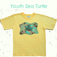Kids Tee Shirt Seaturtle Youth Size Beach Screenprint Cotton Tee