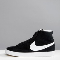 Nike Suede Blazer Trainers In Black And White at asos.com