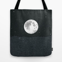 Grey Moonscape Tote Bag by Amelia Senville