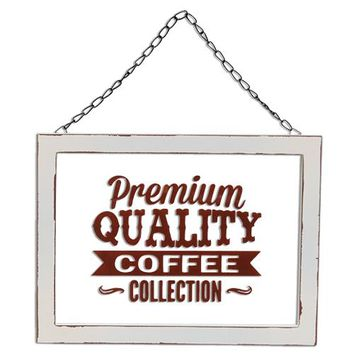 Framed Glass Coffee Sign w/Hanger - *FREE SHIPPING*