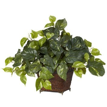 Artificial Plant -Pothos With Coiled Rope Planter Silk Plant