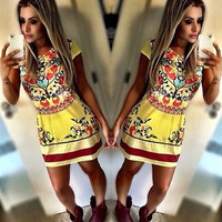 2016 Trending Fashion Floral Printed Package Hip Short Sleeve Sexy Erotic One Piece Dress _ 1674