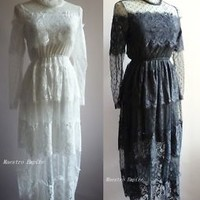 Victorian Edwardian Steampunk Gothic Lace Vintage Sheer Flapper Dress - S M