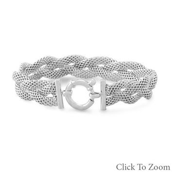 Rhodium plated braided mesh bracelet
