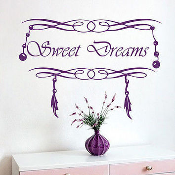 Wall Decals Quotes Sweet Dreams Feathers Decal Nursery Room Vinyl Decor MR538