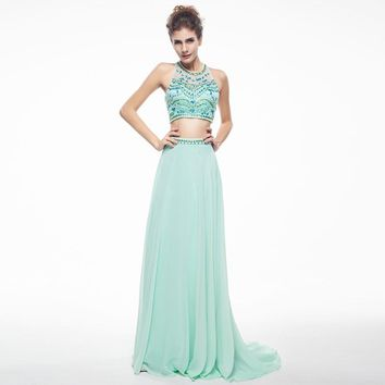Sexy Long Prom Dresses 2017 Scoop Neck Sleeveless A-line Beaded Mint Green Chiffon Backless Africanb 2 Piece Prom Dress