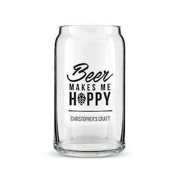 Beer Can Shaped Glass Personalized - Beer Makes Me Hoppy Printing White (Pack of 1)
