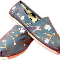 TOMS shoes Hand Painted cherry blossom by conchetts on Etsy