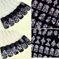 108PCS 3D Silver Nail Art Stickers Decals Hot Stamping Nail Tips Decoration Tool new