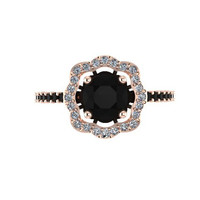 Black Diamond Engagement Ring 14K Rose Gold with 6.5mm Black Diamond Center - V1078