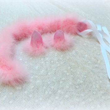 Cat ears and tail pink, cat halloween costume, adult cat costume, pink cat tail and ears, womens Halloween costume