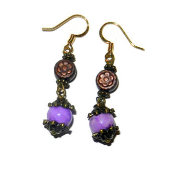 Purple Dangle Earrings, Copper Dangle Earrings, Floral Earrings