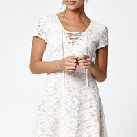 Kendall and Kylie Lace-Up Front Short Sleeve Dress at PacSun.com
