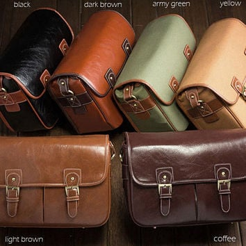 Creative Professional Leather Canon Nikon DSLR Camera Messenger Shoulder Bag