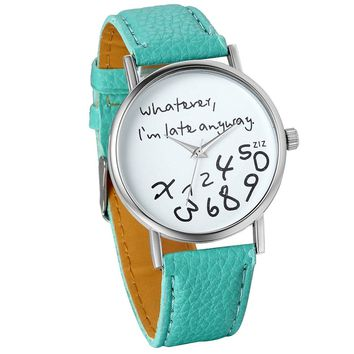 """Female Women Ladies Girls """"Whatever, I'm late anyway"""" Love Gift Leather Strap Watches Quartz Wrist Watch (Green)"""