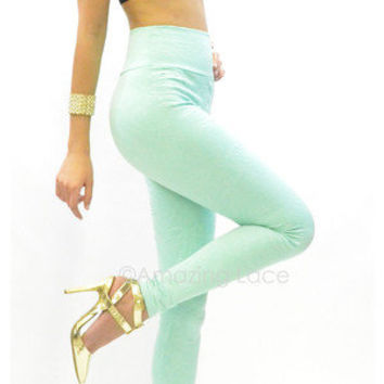 Mint Green Textured Wallpaper Leggings High Waist Pretty Floral Fashion Apparel