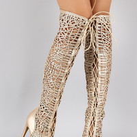 Metallic Woven Lace Up Thigh High Boot