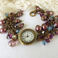 Czech Burgundy Pearl Watch  Ladies Bronze Watch Wrist Watch Bracelet Victorian Style Gift for Her