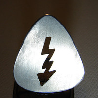 Guitar Pick Handmade from Aluminum with Lightening by NiciLaskin